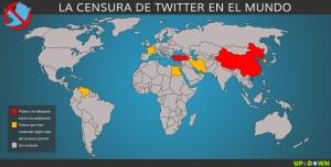 Mapa de la censura contra Twitter en  el mundo.