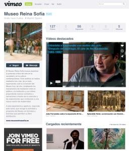 Detalle de la página de Vimeo del Reina Sofía.