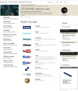 Página del Thyssen con todas las redes sociales en las que está.